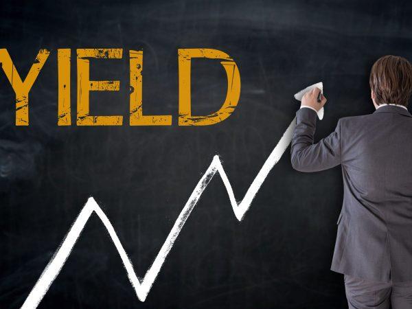Businessman writes YIELD on blackboard concept.