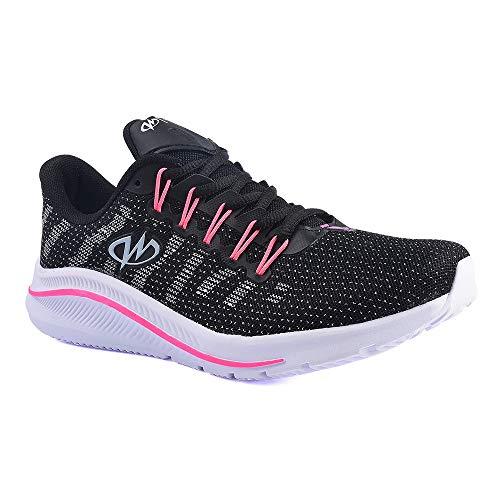 Tênis De Caminhada Academia Runway Training Feminino Tamanho:36;Cor:Preto e Rosa
