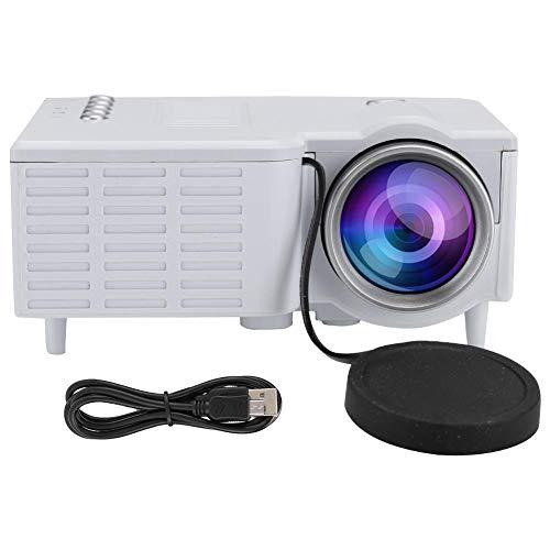 Ginyia Mini projetor, visor HD 1080p, portátil, silencioso, projetor de vídeo com 20.000 horas de vida útil da lâmpada LED com TF, AV e USB (Branco)