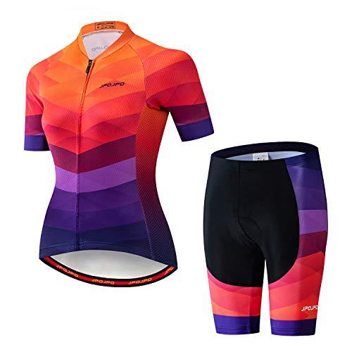 Camisa de ciclismo feminina + shorts acolchoados de manga curta para ciclismo roupas de bicicleta, A15, XXXL for Chest41-43.3