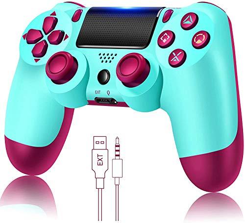 Controlador de jogo para PS4 sem fio Gamepad para PS4 / PS4 Pro / PC e laptop com vibração e função de áudio, mini indicador LED, controlador de alta sensibilidade com antiderrapante(Berry Blue)