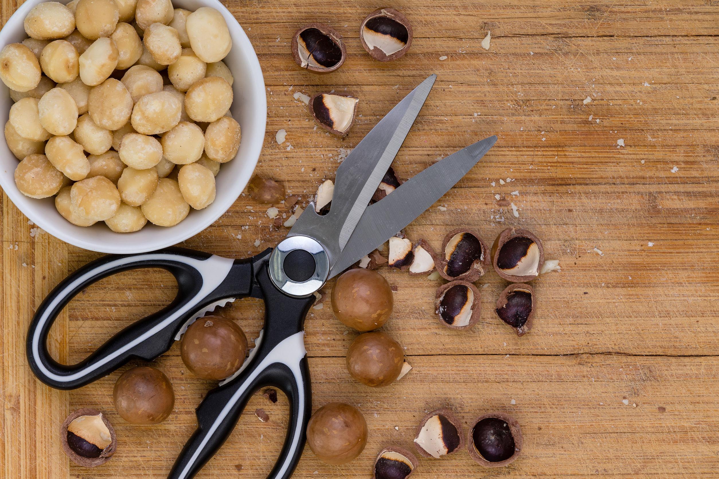 Par de tijeras de cocina o tijeras con nueces de macadamia sin cáscara, agrietadas y enteras sobre una tabla de cortar de madera de bambú visto de cerca desde arriba