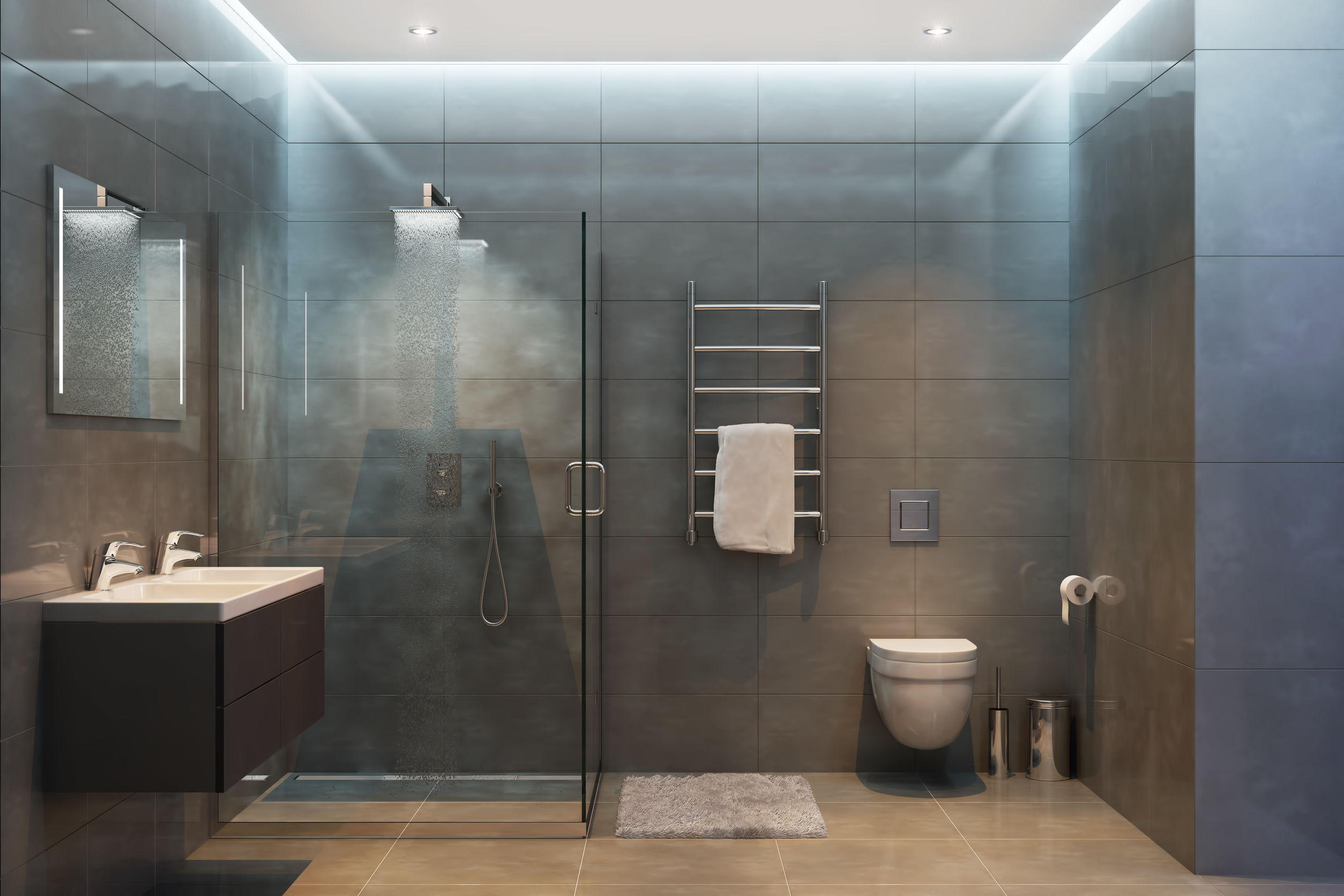 Cuarto de baño moderno con el equipo y los accesorios modernos