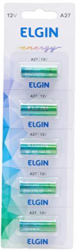 Pilha Bateria Alcalina A27 Cartela com 5 Unidades 12V, Elgin, Baterias