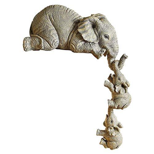 homozy Mãe elefante & Criança Estátua Estatueta Animais Escultura Decoração para Casa Escritório Sala Estante Decoração Da Resina Ornamento Artesanato