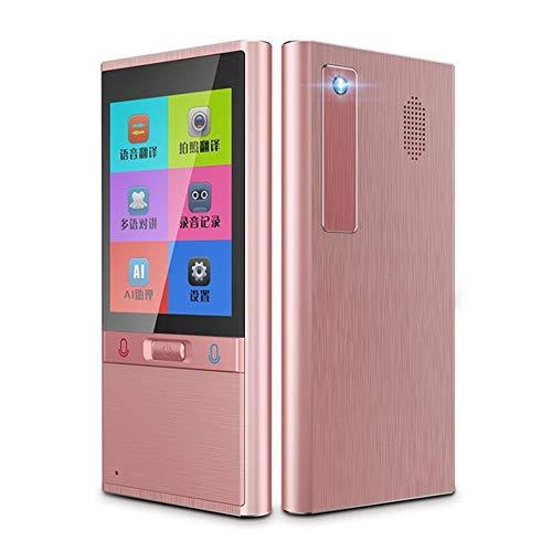 WMWHALE Dispositivo tradutor de idioma inteligente com tela de alta definição de 2,8 polegadas suporta 106 idiomas tradutor simultâneo, rosa