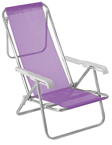 Cadeira Reclinável Mor 8 Posições Lilás Alumínio
