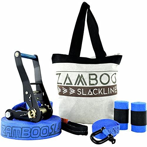 Slackline Zamboo Pro Black 30 mts Azul + Protetor + Bolsa + Backup