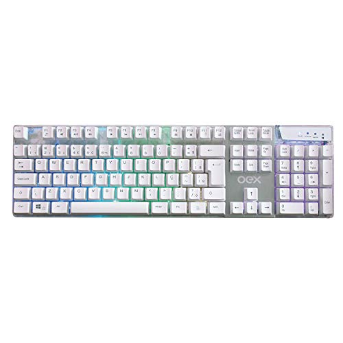 OEX Tc205 Teclado Prismatic USB Com LED, Branco