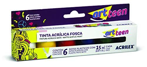 Acrílica Fosca Conjunto com 6 Cores, Acrilex, 035060000, Multicor