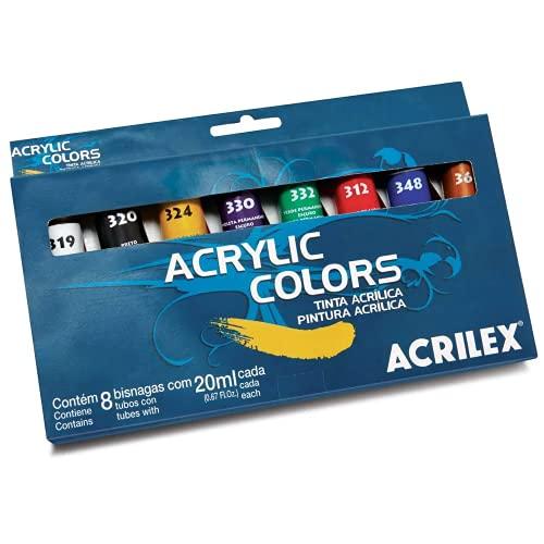 Tinta Acrílica para Tela 8 Cores 20ml Acrilex, Multicor