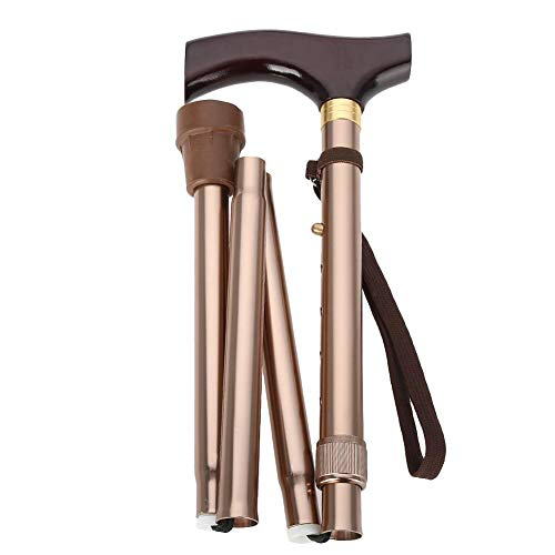 A sixx Bengala de caminhada dobrável para homens, mulheres, cabo de madeira, dobrável, segurança idosa, guia de bengala cega, bengala dobrável de bronze