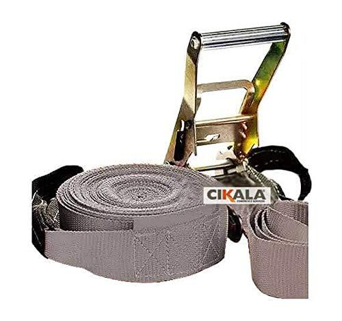 Slackline Cinza + Alça + Bolsa + Catraca + Protetor 15,7m CIKALA