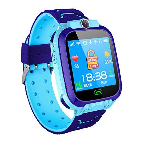 Relógio inteligente infantil Docooler com compartimento para cartão SIM, tela sensível ao toque de 1,44 polegadas, relógio inteligente para crianças com função de rastreamento GPS, fotografia de conversa de voz compatível com Android e iOS Phone Rosa/Azul