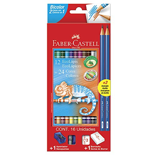 Lápis de Cor, Faber-Castell, EcoLápis Bicolor, 12 Lápis/24 Cores + 2 Lápis N°2