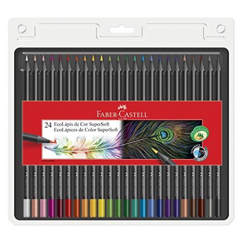Lápis de Cor, Faber-Castell, EcoLápis Supersoft, 24 Cores