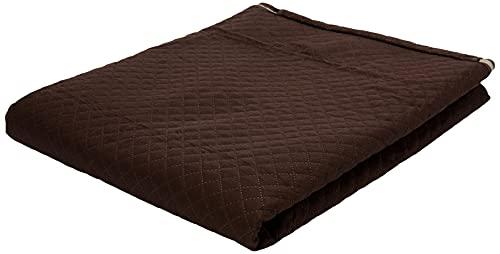 Protetor De Sofá Impermeável 4 Lugares Padrão Liso Dupla Face Tecido Microfibra Kaqui/Marrom