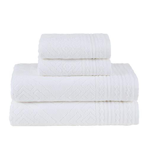 Jogo de Toalhas Gigante, Concórdia, 4 Peças (2 toalhas de rosto 48x90cm, 2 toalhas de banho 90x150cm), Branco, Buddemeyer