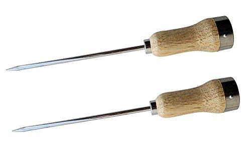 Conjunto de 2 palitos de gelo de aço banhados com alça de madeira, 5 mm de espessura e lâmina de 15 cm de comprimento