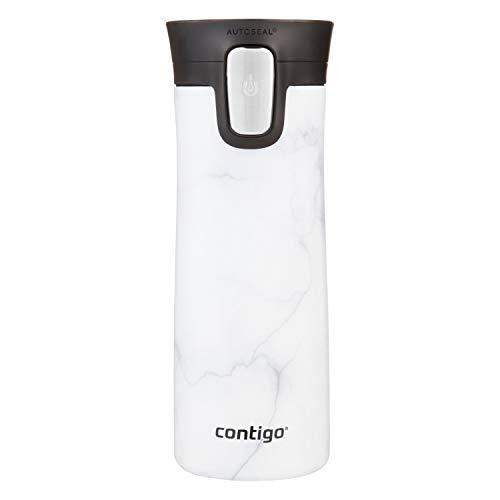 Caneca de viagem Contigo de aço inoxidável para costura de café, selagem automática, isolada a vácuo, 400 ml, mármore branco
