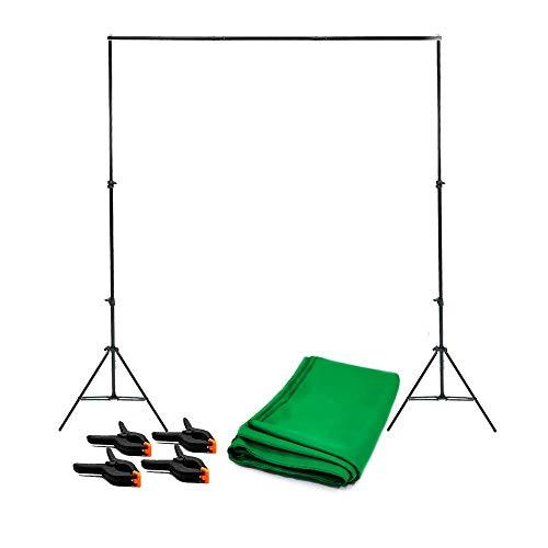 Fundo Chroma Key Verde Completo com Suporte SFI-243, Tecido 2x2,80m + 4 Grampos