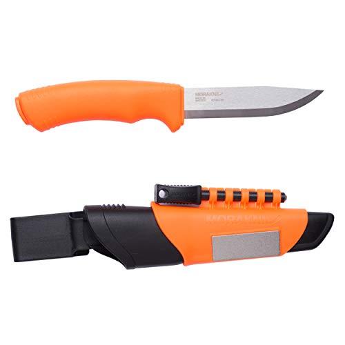 Faca de sobrevivência Morakniv Bushcraft em aço inoxidável com lâmina fixa de 11 cm com iniciador e apontador de fogo, laranja