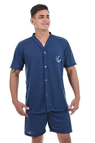 Pijama 4 Estações Curto Masculino Aberto Com Botão (M, Azul Marinho)