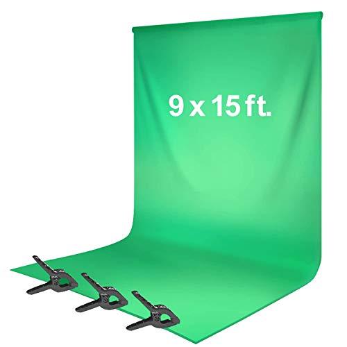 LimoStudio, Green Chromakey tela de fundo de 2,7 x 4,5 m, textura de seda macia e sem costura, musselina com grampo de mola, fotografia, AGG1777