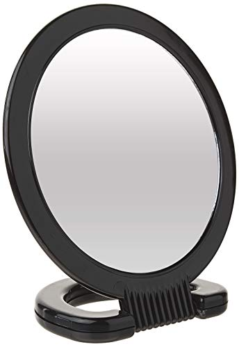 Diane Espelho portátil de plástico – Espelho de penteadeira de 2 lados com alça circular dobrável e suporte para pendurar – Tamanho médio, 15 x 25 cm para viagem, banheiro, mesa, maquiagem, beleza, cuidados