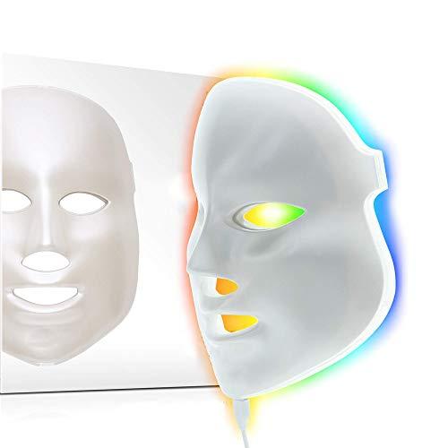 Máscara de fóton para rejuvenescimento da pele | 7 cores LED Photon Light Therapy Tratamento Whitening Anti-envelhecimento Acne Spot Scar Remoção Suaves rugas Linhas finas Aperto da pele