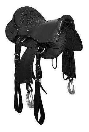 Sela Australiana de cavalgada para cavalo Preta com conjunto completo