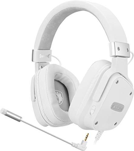 Headset Sades Snowwolf Multifuncional Fone de Ouvido Gamer para Xbox One Ps4 Nintendo Switch VR Celular, Branca