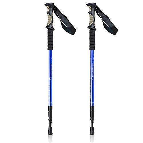 BAFX Products - Pacote com 2 – bastões antichoque para trilhas/caminhada/trekking – 1 par, azul, azul royal