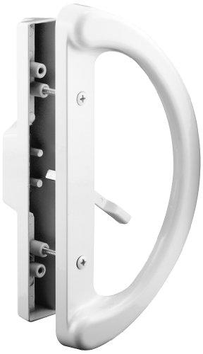 Conjunto de maçanetas de porta de pátio com alça deslizante Prime-Line C 1225 – Substitua maçanetas antigas ou danificadas de forma rápida e fácil – Estilo de fundição branca, estilo mortise, não chaveiro (serve para espaçamento de orifício de 3 a 15 polegadas)