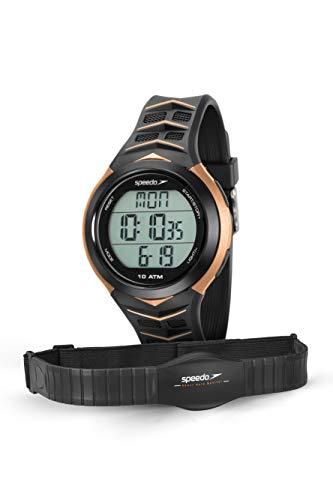 Relógio Monitor Cardíaco, Speedo, 80621G0EVNP3, Preto/ Dourado