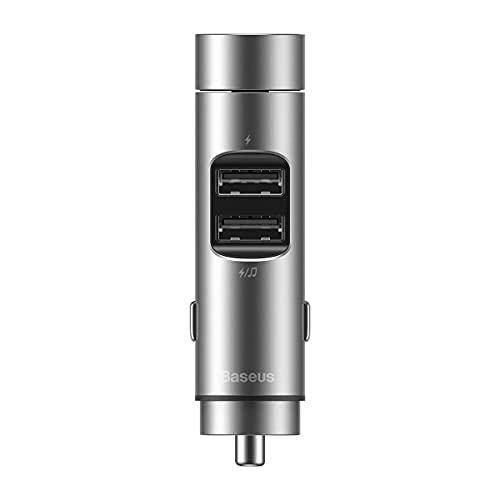 Transmissor FM Bluetooth 5.0 Carregador Turbo QC3.0 Baseus Prata