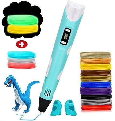 Caneta de impressão 3D profissional MAXBROTHERS pode ajustar temperatura/velocidade, presente DIY criativo (azul)