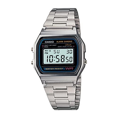 Relógio digital masculino Casio A158WA-1DF de aço inoxidável