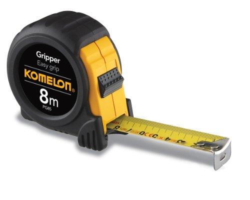 Komelon PG85 8 m por 25 mm fita métrica de aderência, preta, PG85, Preto, 8 X 25