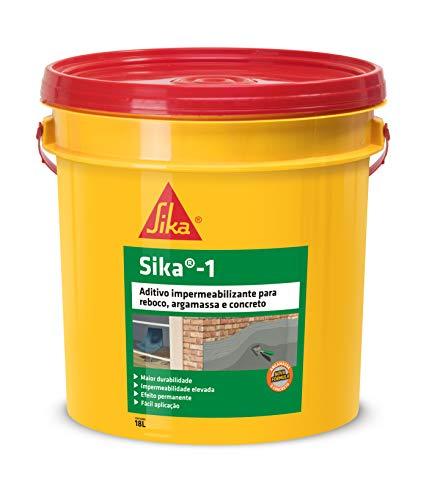 Sika 1, Aditivo Impermeabilizante Para Argamassa e Concreto, mantendo os ambientes salubres, Amarelo, Balde 18L