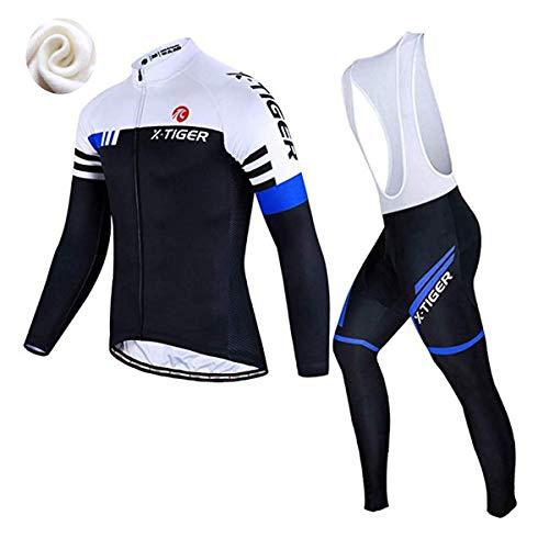Conjunto de camisa de ciclismo masculino X-Tiger, conjunto de manga longa para ciclismo com Bretelle acolchoados de gel 5D, conjunto de roupas de ciclismo para MTB Road Bike (G)