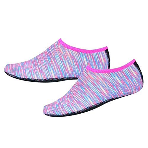 Baoblaze Sapatos De água Antiderrapante Praia Surf Aqua Meias Slip-On - Rosa L