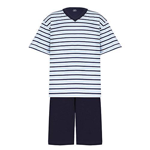 Pijama Lupo AM Curto - Gola V - Listrado masculino Azul Marinho P