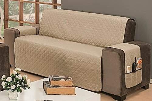 Protetor De Sofá Impermeável 3 Lugares Padrão Liso Dupla Face Tecido Microfibra Kaqui/Marrom