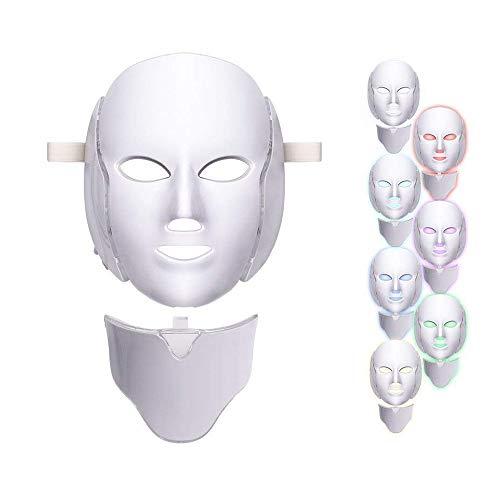 Máscara de terapia luz 7 cores Rosto Pescoço Led Photon Máscara facial Cuidados com a pele Rosto Acne Spot Remoção de rugas Antienvelhecimento Branqueamento Rejuvenescimento