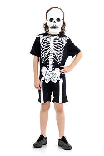 Fantasia Esqueleto Pop Infantil 910635-g Sulamericana Fantasias Preto/branco 10/12 Anos