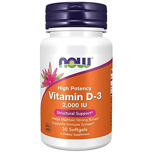 Now Foods, Vitamina D3, Alta Potência, 2000 IU, 30 Cáp