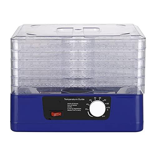 Desidratador de alimentos com 5 bandejas Desligamento automático Desidratador de alimentos Desidratador de alimentos inteligente ajustável para carne seca Ervas Máquina de secar frutas com cronômetro