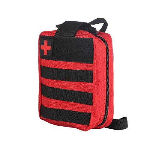 ALLOMN kit de primeiros socorros, bolsa compacta e leve essencial para casa, carro, escola, escritório, esportes, viagens, acampamento, caminhada ou qualquer outra atividade ao ar livre (vermelha)