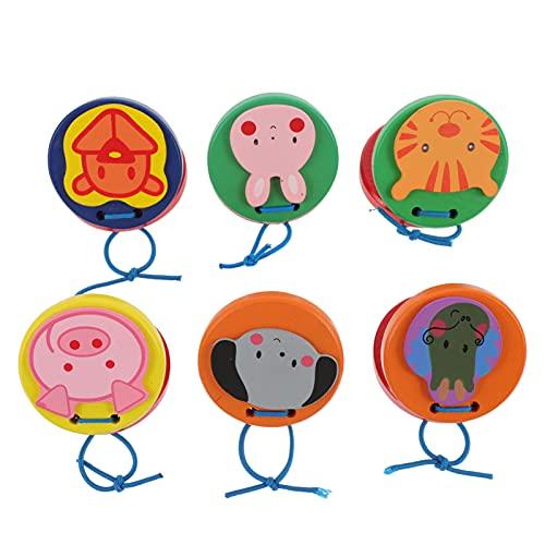 STOBOK 6Pcs Dedo Crianças Castanholas Castanholas De Madeira Brinquedo Animal Padrão Instrumentos Musicais de Percussão Ritmo Precoce Brinquedo Educativo para O Bebê Da Criança
